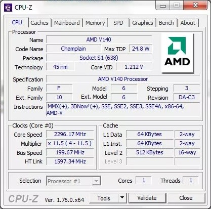 CPU-Z 1.87 Utility for getting detailed information about the processor