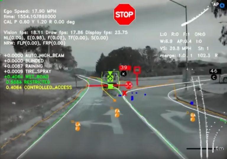 Видео: как автопилот Tesla видит дорогу