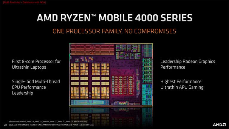 AMD представила серию мобильных процессоров Renoir на ядре Zen2