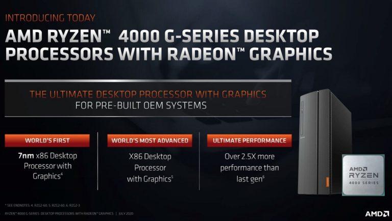 AMD представила десктопные гибридные процессоры Ryzen4000