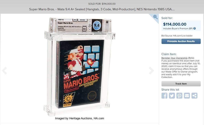 Картридж с игрой Super Mario Bros. продан на аукционе за 114 тысяч долларов