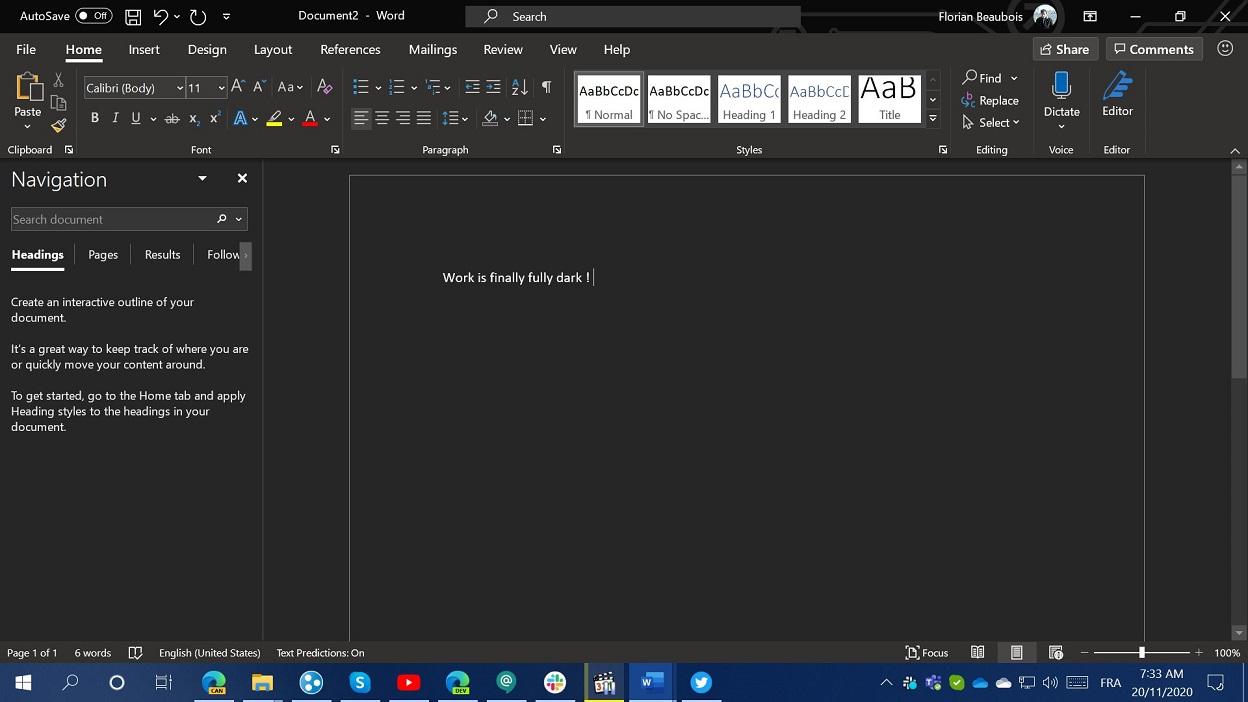 Microsoft готовит тёмную тему для текстового редактора Word