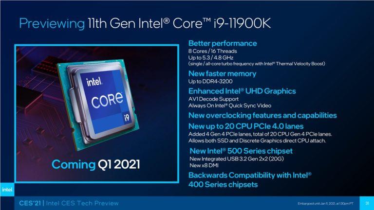 Intel раскрыла возможности Core i9-11900K