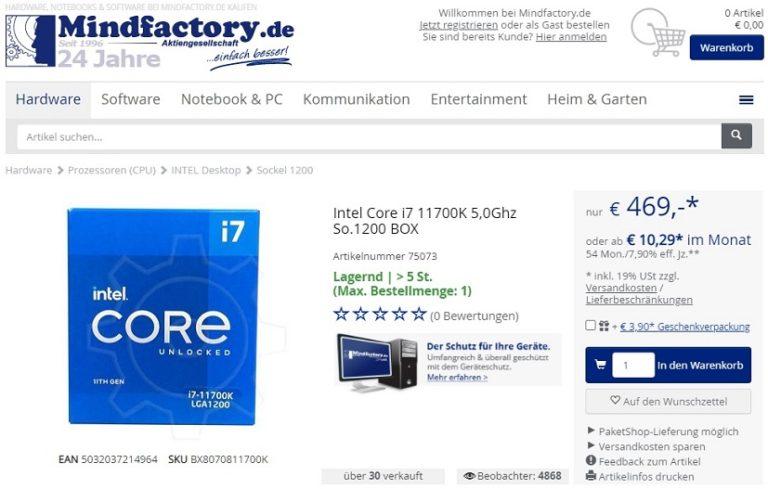 Немецкий компьютерный магазин уже предлагает всем желающим приобрести Core i7-11700K