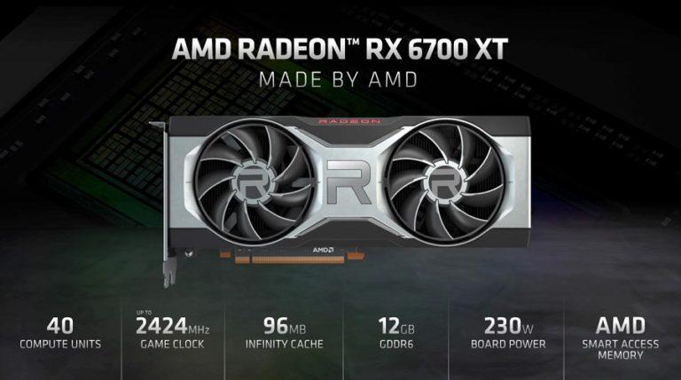 AMD представила видеокарту Radeon RX6700XT