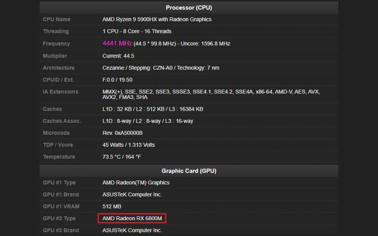 Мобильный Radeon RX 6800M замечен в составе ноутбука Asus