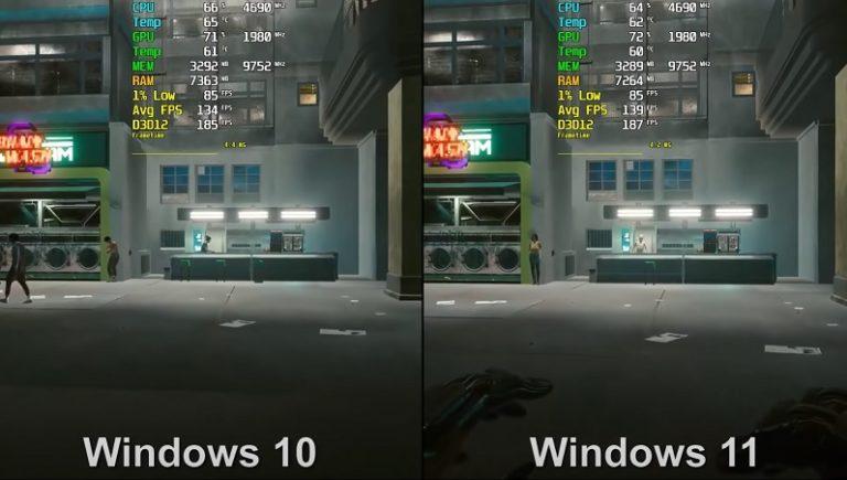 Производительность Windows 10 и Windows 11 сравнили в играх