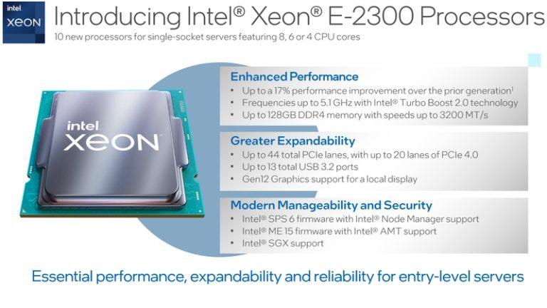 Intel представила линейку процессоров Xeon-E2300 для платформы LGA 1200
